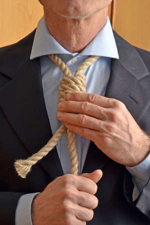 choke: Hangman adjusting a noose rope like tie.