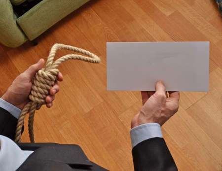 wrongful: Hangman holding a white chart and letter message.