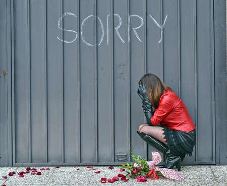 delusion: Woman feeling sorry Stock Photo
