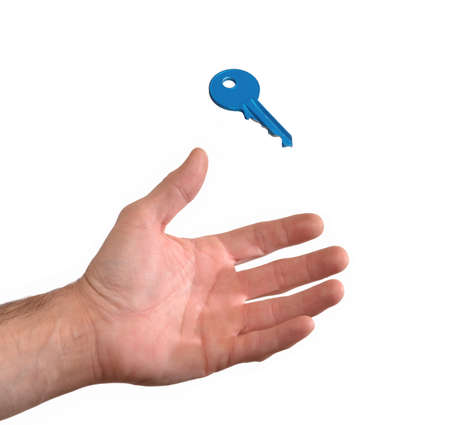 formule: Young female holding a key on white background.
