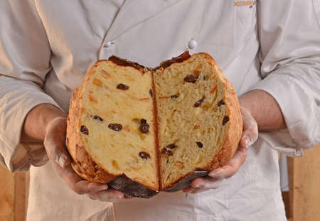 provocative food: Baker holding panettone bread. Half panettone bread.
