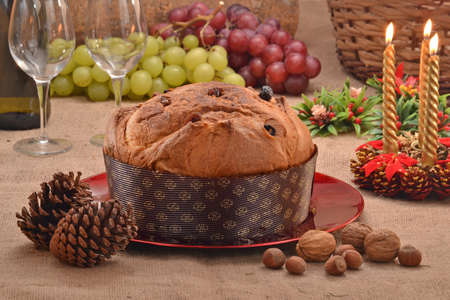 White chocolate panetone and ingredients. Traditional Christmas food.