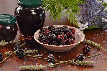 Fresh blackberry and bottle jam.