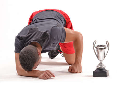 buffed: Exhausted athletic man Stock Photo