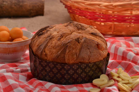 provocative food: panettone bread and ingredients on rustic wood ambient.Panetone and ingredients.Traditional italian christmas food.