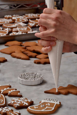 christmas baker's: Fresh made christmas cookies Stock Photo