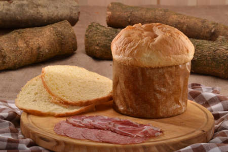 provocative food: Bread cheese panetone and salami.