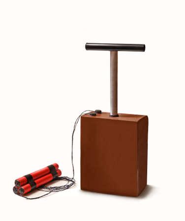 detonator: Dynamite stick and detonator kit. Stock Photo