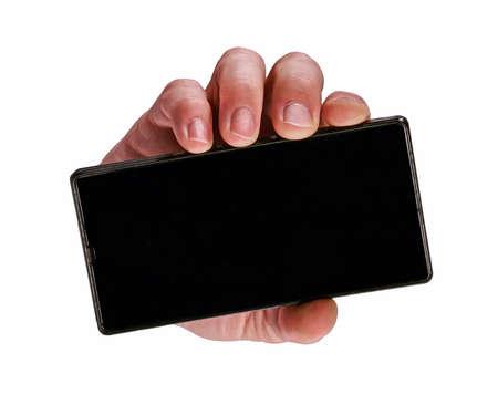 Bad hand holding mart phone on white