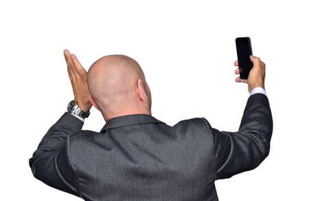 Funny businessman taking selfie photo on phone