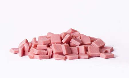 Ham ham cubes isolated on white background.