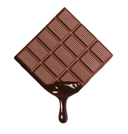 Dark chocolate bar and melted brewing drop on white background.