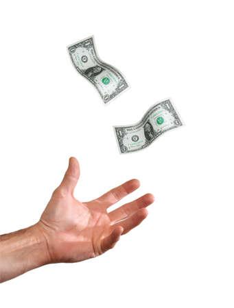 Hand catching money