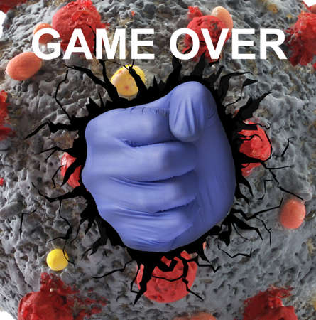 Medic hand punch coronavirus molecule from inside, defeated virus. Banque d'images