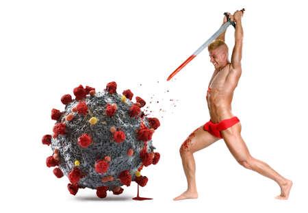 Warrior kill the Coronavirus molecule with a sword.