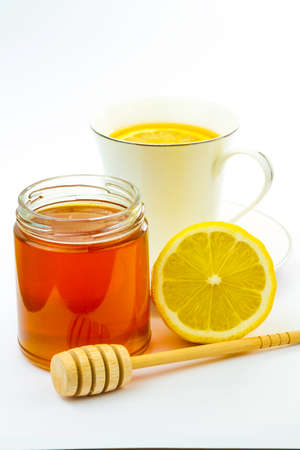 Healthy lemon  tea with  honey isolated  photo