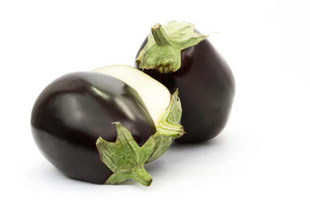 two halved aubergine photo
