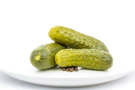 gherkins: gherkins on white plate