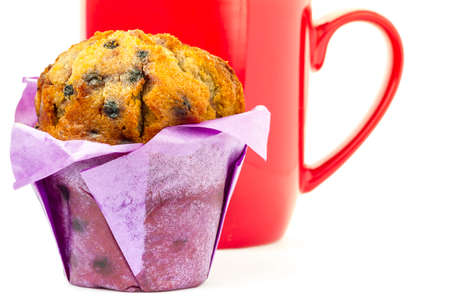 red coffee cup and muffin photo