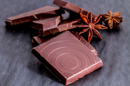 dark: dark chocolate piceces Stock Photo