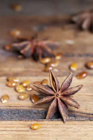 star anise seeds on wooden background