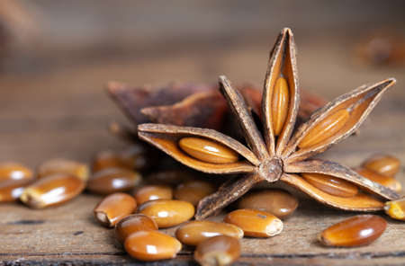 star anise, spice on wooden table