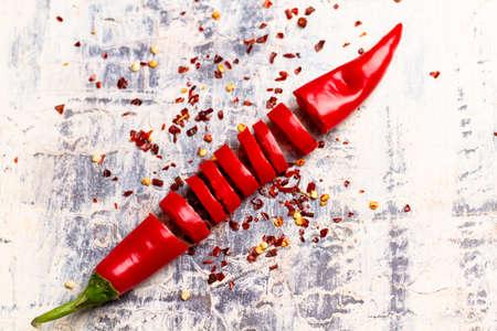 sliced chilli pepper Stock Photo