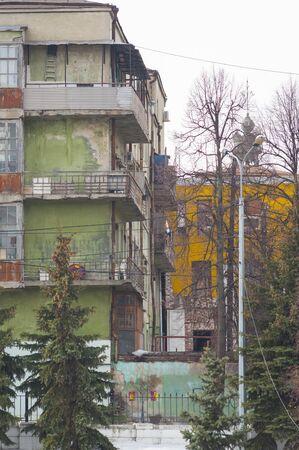 slums: Multicolored old houses on the shore of Black Lake in Kazan, Tatarstan, Russia
