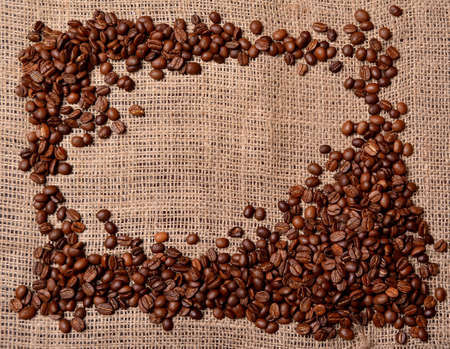 coffee beans on sackcloth frame