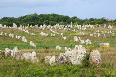 alignments: Ménec prehistoric alignments in Carnac in the Morbihan in Brittany - France Stock Photo