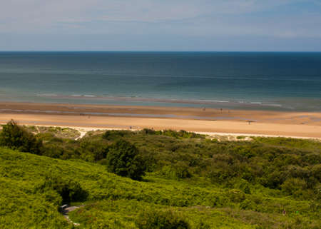 heros: The beach of Omaha beach, a remnant of the Second World War Colleville sur Mer in Normandy - France Stock Photo