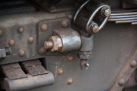 damper: Attachment of damper on old wagon in the Somme in Picardy - France Stock Photo