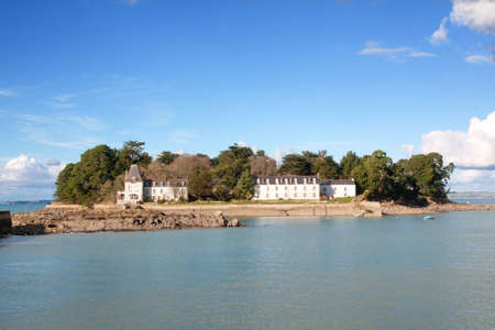 cited: Douarnenez - the island Tristan al harbor entrance Tréboul in Finistere in Brittany - France