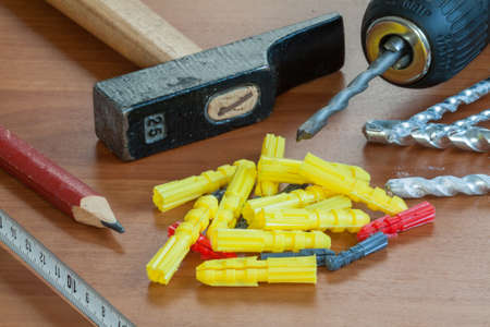 Detail of construction tools and drilling photo