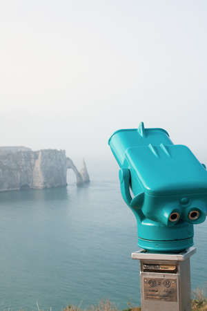 Spotting the face of the chalk cliffs of the Alabaster coast of Etretat in Normandy Seine Maritime - France photo