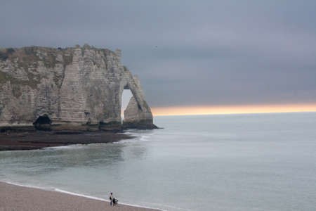 Black sky on the chalk cliffs of the Alabaster coast of Etretat in Normandy Seine Maritime - France photo