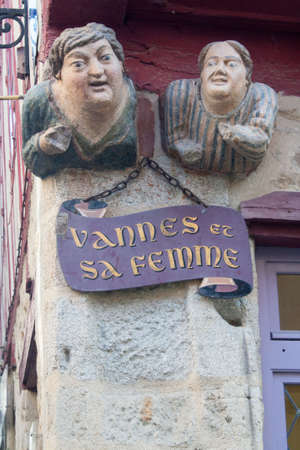 busts: Busts - Vannes and his wife - in the center of old Vannes in the Morbihan in Brittany - France