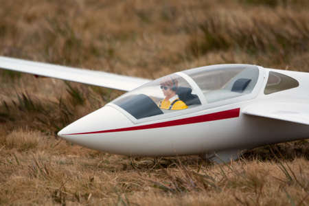 Scale model glider on the ground before the final preparations for the flight photo