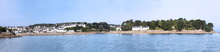 cited: Panoramic view from Rhu Douarnenez harbor in Finistère - France Stock Photo