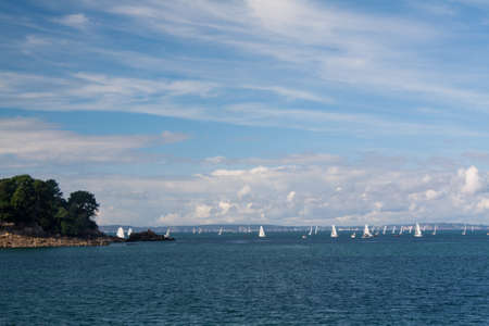 cited: Douarnenez - Sailing around the island Tristan in Finistere in Brittany - France Stock Photo