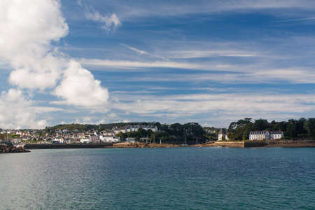 cited: Douarnenez - The Tristan and Tréboul island seen from Port Rhu in Finistere in Brittany - France Stock Photo