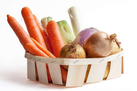 Vegetables for soup in a crate