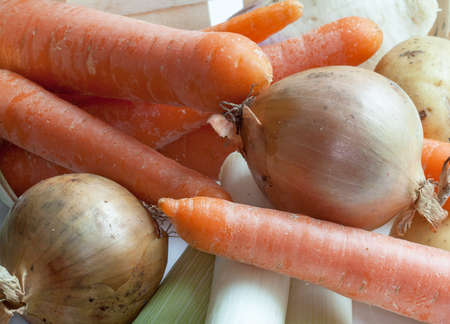 local supply: Vegetables for soup in a crate