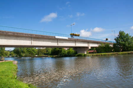 cited: The bridge over the canal Charmes, Vosges, France Stock Photo