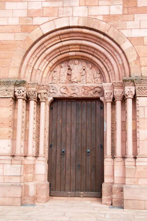 vineyard plain: Portal of St. Peter and Paul church has Sigolsheim, Alsace, Haut Rhin