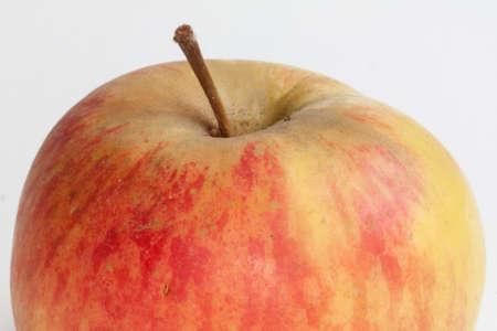 bicolor: Bicolour apple on white background closeup
