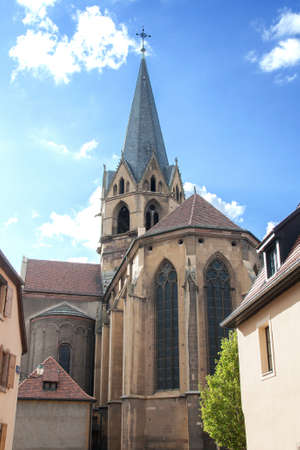 vineyard plain: Church of Our Lady  's Assumption Rouffach, Alsace, Haut Rhin