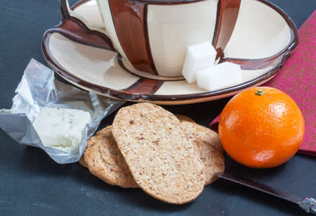 collation: Ingredients for breakfast lunch amid  's slate Stock Photo