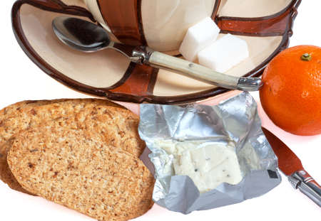 collation: Ingredients for breakfast lunch on white background Stock Photo