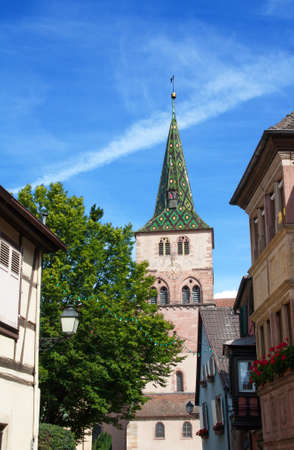 vineyard plain: Church of St. Anne, Turckeim, Alsace, Haut Rhin Stock Photo